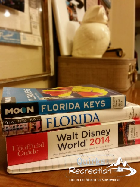 Stack of three travel books for Florida